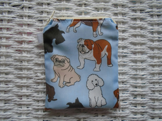 Mixed Dogs Blue Coin Purse or Card Holder.