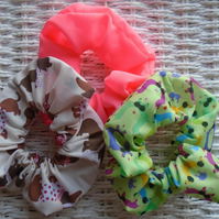 Pack of 3 Hair Scrunchies Sausage Dogs & Neon