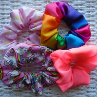 Pack of 4 Unicorn Rainbow & Pink Neon Hair Scrunchies Great Gift Idea.