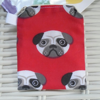 Red Pug Themed Coin Purse or Card Holder.