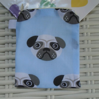 Blue Pug Themed Coin Purse or Card Holder.
