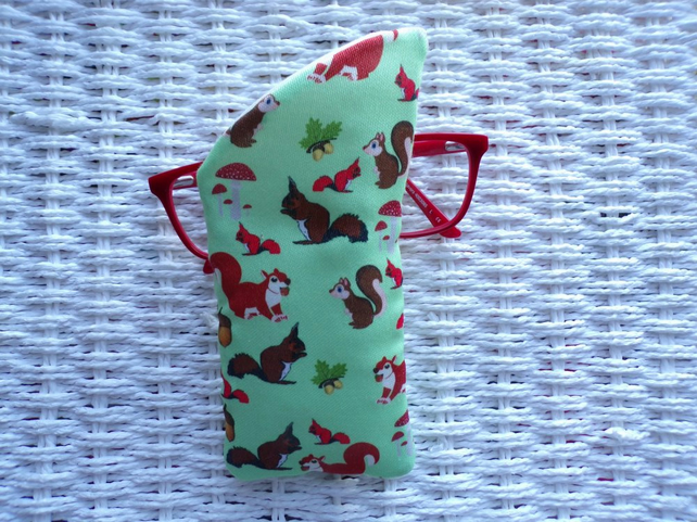 Squirrel Glasses Case Lined & Padded