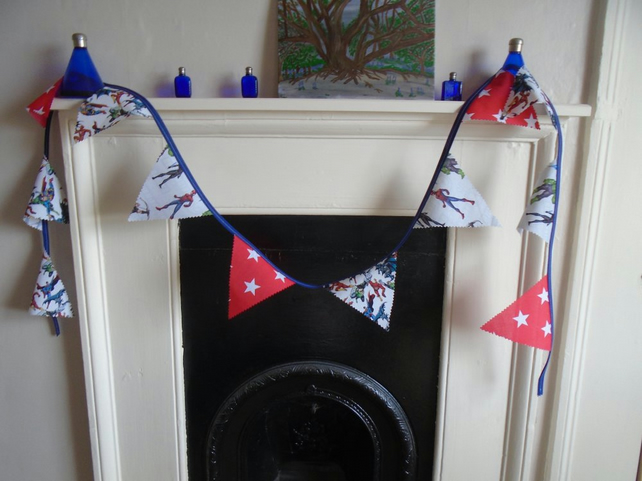Mixed Superhero & Stars Bunting 2 Metres Party Home Decor.