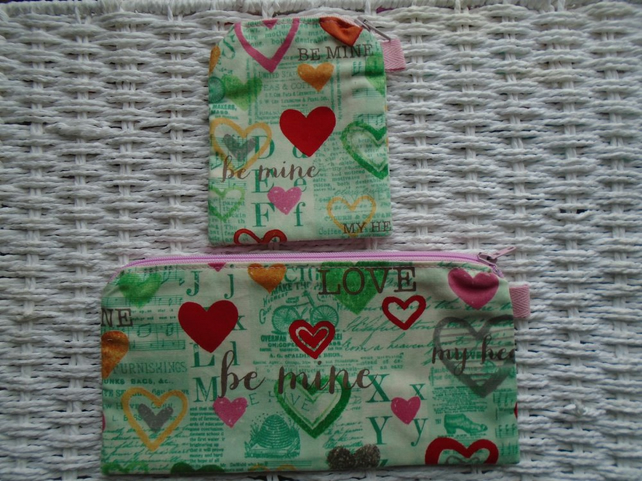 Love Romance Gift Set Purse & Small Make Up Bag or Pencil Case.