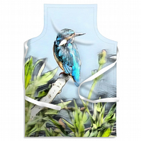 Kingfisher Blue Looking Right Adult Size Apron