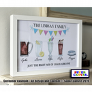 "Personalised Family Drinks 8 X 10"" Print & Framed Options available"