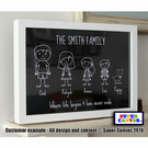 "Personalised Stick Character Family 8 X 10"" Print & Framed Options available"