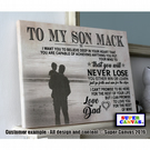 "To My Son Inspirational Word Art Personalised A4 8"" x 12"" Canvas Print"