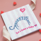 Let's Bake a Cake Kitten & Balloon Design Small Blank Notebook