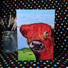Highland cow card, handmade card, blank inside, unique design, local artist