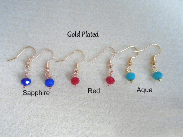 6mm Crystal Beads Earrings. (Gold plated, Silver Plated or .925 Silver Hooks)