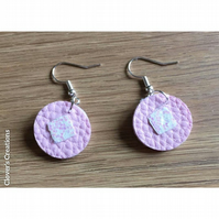 Faux Leather Earrings,   round earrings, pink earrings,  stainless steel hooks