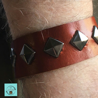 Light brown leather bracelet,  bronze pyramid studs,  8.5 inches, gift idea