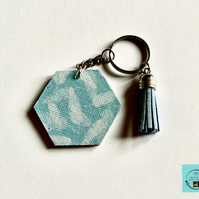 Blue and white feather print keyring or bag charm with tassel