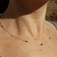 Rainbow Sapphire Ruby and Emerald beaded necklace, Sterling silver necklace