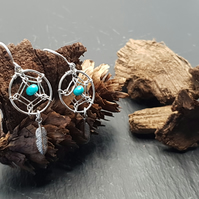 Real Turquoise Dreamcatcher Earrings in Sterling Silver
