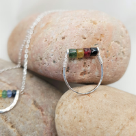 Rainbow Tourmaline and Sterling Silver Ring, Wire Wrapped Ring, Beaded Ring