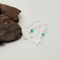 Sterling Silver Star Earrings with Real Turquoise Beads