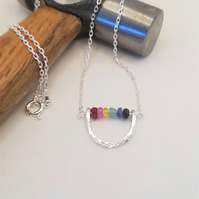Rainbow sapphire ruby and emerald necklace, Dainty gemstone necklace