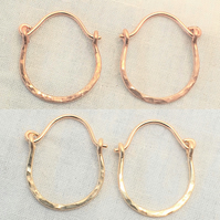 Tiny Hammered Gold Hoop Earrings, Boho Gold and Rose Gold Hoops