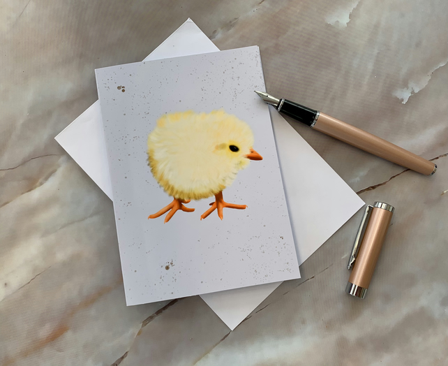 Chick blank greeting card, notecard, thank you card