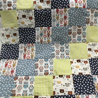 Woodland Bear, Owl and Rabbit Patchwork Blanket