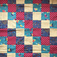 Bright Love Bird Love Patchwork Blanket