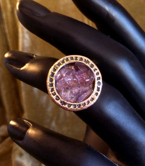 Amethyst Stone Gem Unique Wiccan Astro One of A Kind Handmade Adjustable Ring