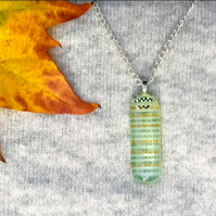 Stripe Pattern Clear Fused Glass Pendant