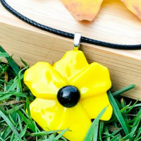 3D Yellow Flower Pendant