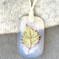 Yellow Leaf Printed Clear Fused Glass Necklace
