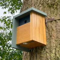 Sage Green and Solid Oak Birdhouse - A Home for Birds to Visit, Year After Year