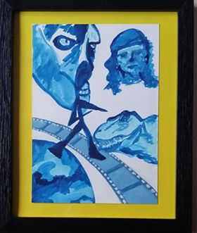 STEP INTO A MOVIE – FRAMED SURREAL WATERCOLOUR WITH CHOICE OF MOUNT COLOUR