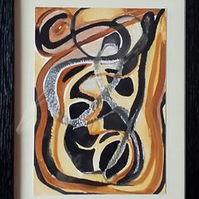 TRIBAL DANCE – FRAMED ABSTRACT WATERCOLOUR PAINTING WITH A POEM.
