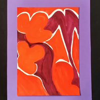 STEP BACK IN TIME – 70'S – ABSTRACT PAINTING.WITH POEM. CHOICE OF MOUNT COLOURS.