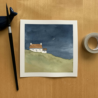 A hillside crofters cottage with approaching storm original watercolour painting