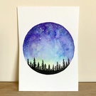 A small ACEO size miniature watercolour painting of a starry night galaxy