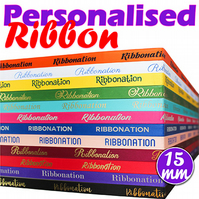 Personalised 15mm Satin Ribbon, Gift Wrapping, Birthdays, Weddings, Anniversary,