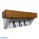 White 3 key rack with chunky rustic shelf , perfect gift, entryway hallway shelf