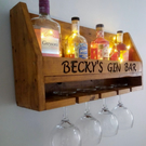 Personalised gin bar, wine bar , drinks shelf , rack , perfect gift for someone