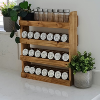 Handmade Rustic Wooden Spice Rack Large 600mm long (FREE POSTAGE)
