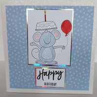 Mouse with cake and balloon card