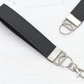 Leather Wristlet Fob In Grey
