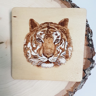 Pyrography Coaster - Tiger