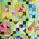 "Patchwork Quilt, Bright and Homely 39"" square"
