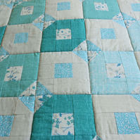 Patchwork Quilt in Teal and Grey Cotton Fabric
