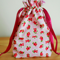 Floral Cotton Fabric Draw String Bag