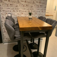 Industrial Style Bar Dining Table, High Breakfast Poseur Table BS12