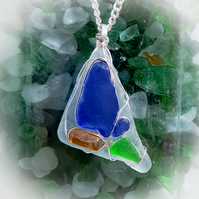 unique, sea glass, wire wrapped, pendant, necklace, Charmouth