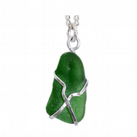 Pretty wire wrapped, green, sea glass pendant necklace, silver plated chain